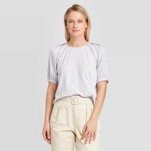 Short Sleeve Round Neck T-Shirt - Who What Wear L